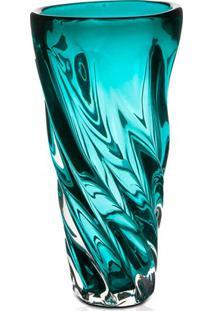Vaso Em Vidro Unique 25Cm Turquesa