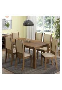 Conjunto Sala De Jantar Madesa Melissa Mesa Tampo De Madeira Com 6 Cadeiras Rustic/Crema/Sintético Bege