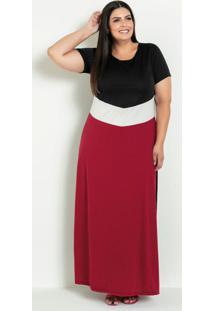 Vestido Longo Tricolor Com Recortes Plus Size