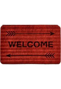 Capacho Carpet Welcome Com Flechas Vermelho Único Love Decor