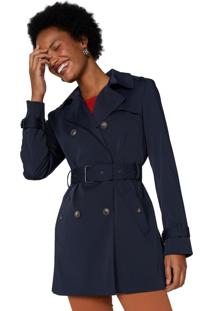 Trench Amaro Coat London Breeze Azul Marinho - Azul - Feminino - Dafiti