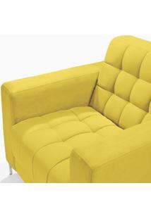 Poltrona Em Veludo Liso Classic Império Estofados Amarelo