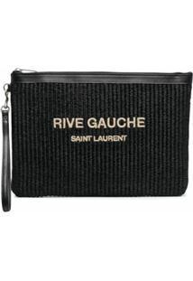 Saint Laurent Clutch Rive Gauche De Ráfia - Preto