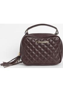 Bolsa Em Couro Matelass㪠Com Bag Charm- Bordã´- 16X22Di Marlys