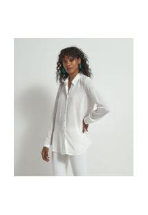 Camisa Manga Longa Texturizada Bordado Nas Costas Em Viscose | Marfinno | Branco | P