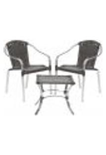 Jogo Cadeiras 2Un E Mesa De Centro Pinheiro Para Edicula Jardim Area Varanda Descanso - Tabaco