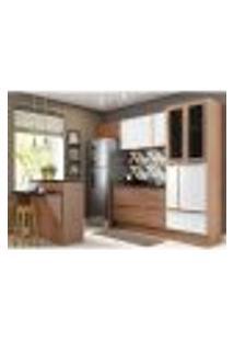 Cozinha Completa Multimóveis Com 8 Peças Calábria 5463R Nogueira/Branco