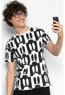 Camiseta Disney Meia Malha Full Print Masculina - Masculino-Branco