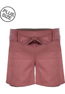 Shorts Outletdri Bengaline Plus Size Cós Alto Bolso Laço Frontal Rosê