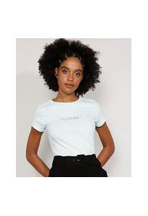 "Camiseta Feminina Manga Curta Paz Interior"" Decote Redondo Verde Claro"""
