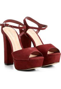 Sandália Couro Shoestock Meia Pata Feminina - Feminino-Bordô