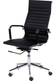 Cadeira Office Eames Esteirinha Alta Giratória Preto Or Design