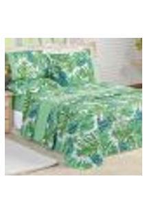 Cobre Leito Solteiro Verde Folhas Estampado + Jogo De Cama Estampado 5 Peças 200 Fios Micropercal