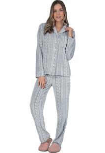 Pijama Aberto Fleece Glace - Lua Luá - Cinza