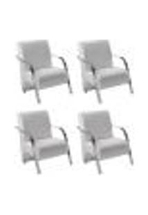 Conjunto De 4 Poltronas Sevilha Decorativa Braço Alumínio Cadeira Para Recepção, Sala Estar Tv Espera, Escritório - Corino Branco