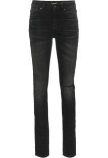 Saint Laurent Calça Jeans Skinny Rasgada - Preto