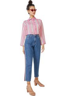 Calça Jeans Mom Listra Lateral