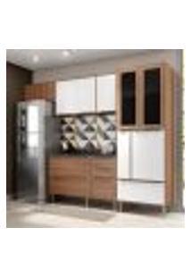 Cozinha Compacta Calábria Aéreos, Paneleiro E Balcão Nogueira/ Branco