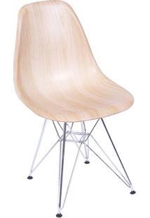 Cadeira Eames Dkr- Salmão & Prateada- 80,5X46X42Cm