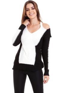 Suéter Kinara Tricot Mousse Ombro De Fora Feminino - Feminino-Branco