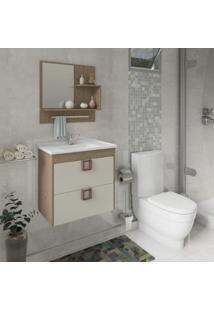 Gabinete De Banheiro 1 Gaveta 1 Porta Basculante Com Cuba E Espelheira Lírio Mgm Móveis Carvalho/Off White