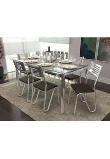 Conjunto De Mesa Com 6 Cadeiras Carter Cromado E Marrom