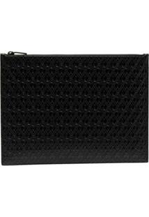 Saint Laurent Clutch Monogram Gravada - Preto