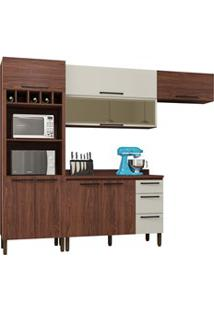 Cozinha Modulada Compacta 5 Peças Viv Concept C02 Nogueira/Off White -
