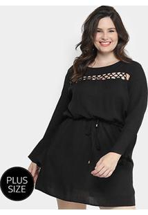 Vestido Holin Stone Curto Liso Plus Size - Feminino-Preto