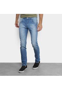 Calça Jeans Skinny Rock & Soda Estonada Masculina - Masculino-Azul