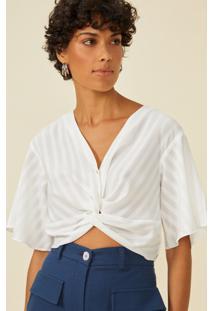 Blusa Amaro Torcido Frontal Com Botãµes Off-White - Branco - Feminino - Dafiti