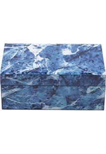 Lyor 3909, Porta Joias De Vidro Mármore, Azul E Branco, 13 X 21 X 8.5 Cm