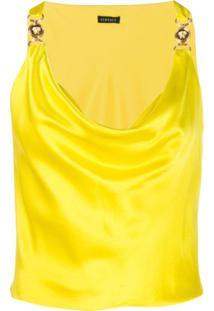 Versace Regata Medusa Com Decote Volumoso - Amarelo