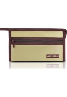 Necessaire Envelope Jacki Design Microfibra - Unissex-Bege