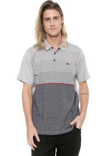 Camisa Polo Quiksilver Reta Single Stripe Cinza