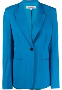 Dvf Diane Von Furstenberg Blazer Heller Com Stretch - Azul