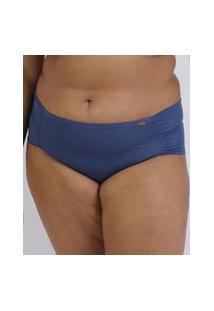 Calcinha Love Secret Plus Size Em Modal Caleçon Com Lateral Dupla Azul