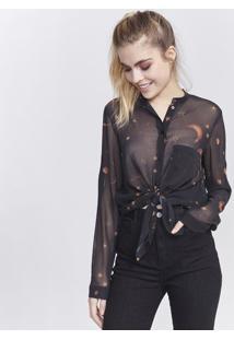 Camisa Estrelas - Preta & Marrom Claropop Up