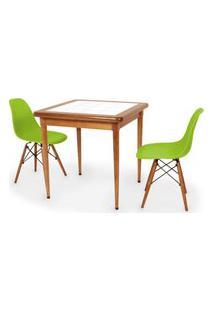 Conjunto Mesa De Jantar Em Madeira Imbuia Com Azulejo + 2 Cadeiras Eames Eiffel - Verde