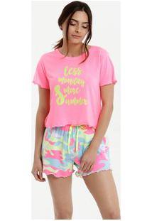 Pijama Feminino Estampado Neon Manga Curta Marisa