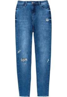Calça Jeans Feminina Skinny Destroyed Com Elastano - Feminino-Azul