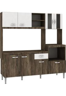 Cozinha Compacta Com Tampo 8 Portas 1 Gaveta Tati Fellicci Naturalle/Branco