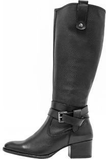 Bota Corazzi Leather Deluxe Montaria Fivela E Laço Preta