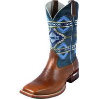 Bota Country Sapatofran Texana Rebento Bico Quadrado Inglaterra Azul-Marinho.  R  479 492bad49ad1b6
