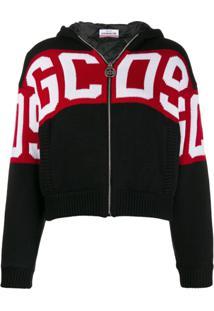 Gcds Logo Printed Zipped Hoodie - Preto
