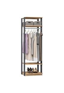 Closet 1008C Carvalho/Cinza - Be Mobiliario