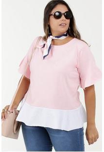 Blusa Feminina Babado Plus Size Manga Curta