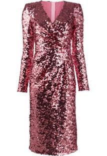 Dolce & Gabbana Vestido Gola V Com Mangas Longas E Paetês - Rosa