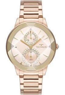Relógio Technos Crystal Analógico Feminino - Feminino-Rose Gold