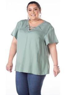 Blusa Besni Decote V Tiras Plus Size Manga Curta Liocel Feminina - Feminino-Verde Escuro